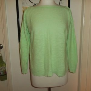 Eileen Fisher Knit Top Sweater Lime Green Size S